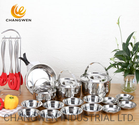Outdoor Camping Space Saving 20PCS Stainless Steel Cookware Set