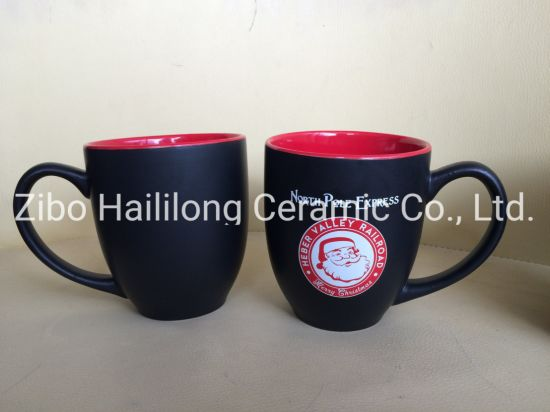 15oz Red Inside Matte Black Outside Glazed Ceramic Mug with Logo