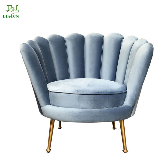 Hot Sales Velvet Flowered Armchair/Accent Chair with Metal Legs for Living Room