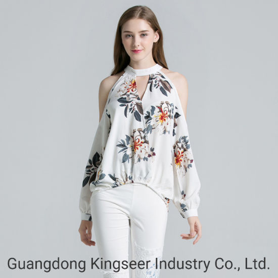 Women  Office Printed Irregula Casual Ladies  Long Sleeves Blouses