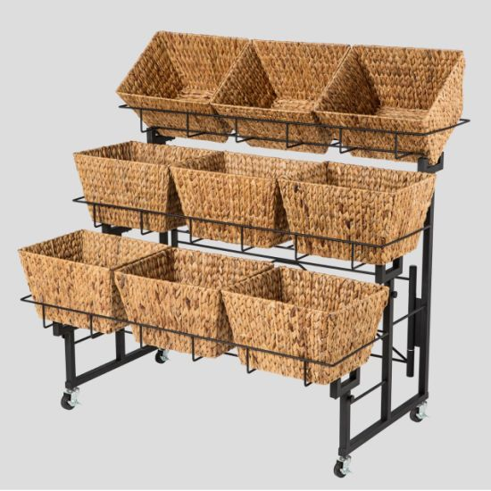 The New Design Can Adjust and Combine 3-Layer Metal Display Rack with Rattan Basket