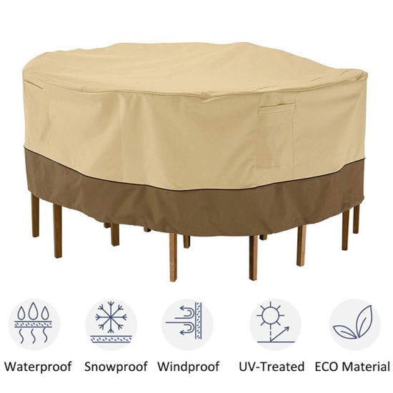 Outdoor Round Patio Table and 6 Chairs Set Cover Large Furniture Set Cover