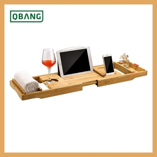 Wholesales Bamboo Bathtub Accessories Productstray Shelf Organize Caddy Rack with Extending Arms&Legs, SPA Reading Holder and Cell Phone Slot for Tablet Book