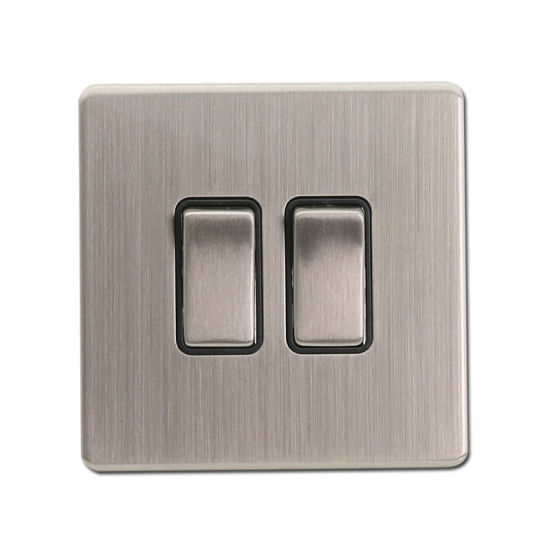2 Gang Switch Sliver Color Metal Electrical Switch Wall Switch (EN303)