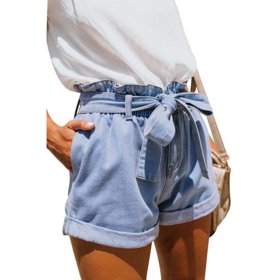 2019 Women Light Blue Paper Bag Waist Jeans Denim Shorts