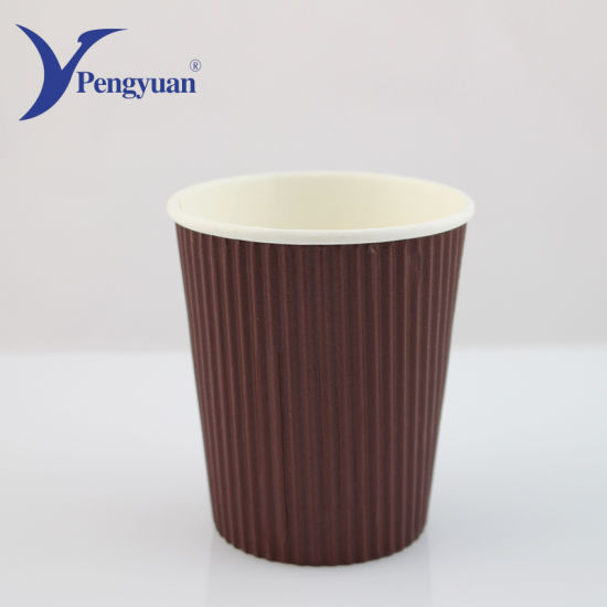 China 250 Ml Customized Tripe Corrugated Wall Paper Cup