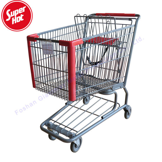 Wholesale Steel Grocery Mall Trolleys with Seat Wheels Supermarket Metal Shopping Cart