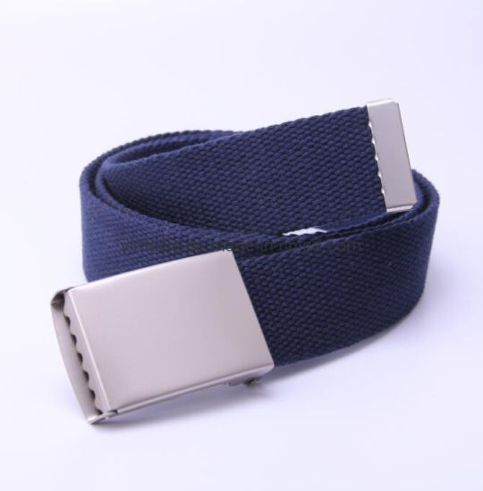 Matt Silver Electrophoretic Flap Buckle Polyster Fabric Men Belt 33 Colors
