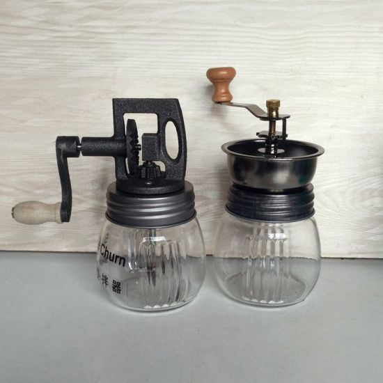 Round Glass Manual Butter Blender Jar pictures & photos