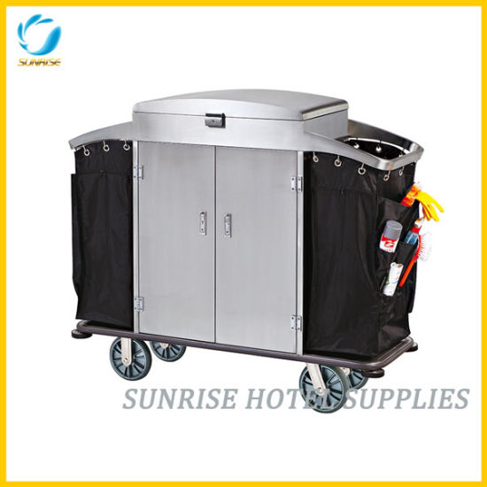 Lockable Stainless Steel Housekeeping Cleaning Cart for Hotel