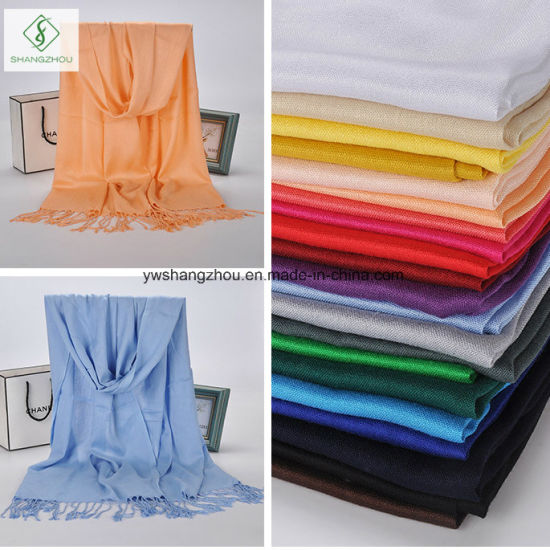 Twill Cotton Plain Shawl with Tassel Lady Fashion Scarf pictures & photos