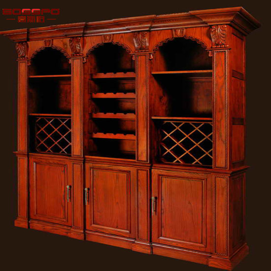 European Style Antique Custom Wood Wine Rack Cabinet Furniture (GSP19 015)