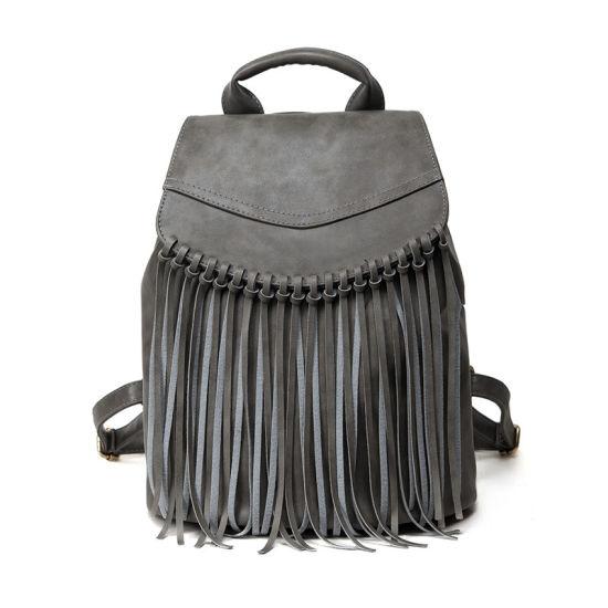 Women Leather Tassel Fringe Backpack Shoulder Bag Rucksac Satchel