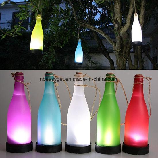China Plastic Led Solar Bottle Lights Wine Bottle Light Garden