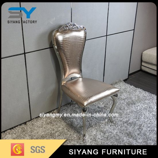china restaurant metal tiffany chair genuine leather dining chair