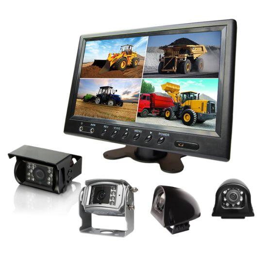 9 Inch Rearview Digital LCD Quad Car Monitor With Wide Screen Reversing Camera For Trailer Caravan Crane