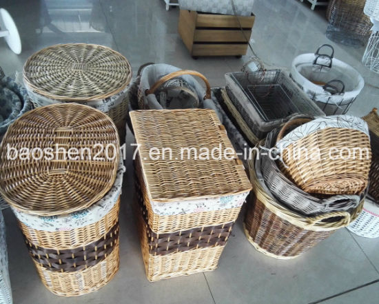 Hampers Wooden Flower Wholesale Willow Storage Wicker Basket pictures & photos