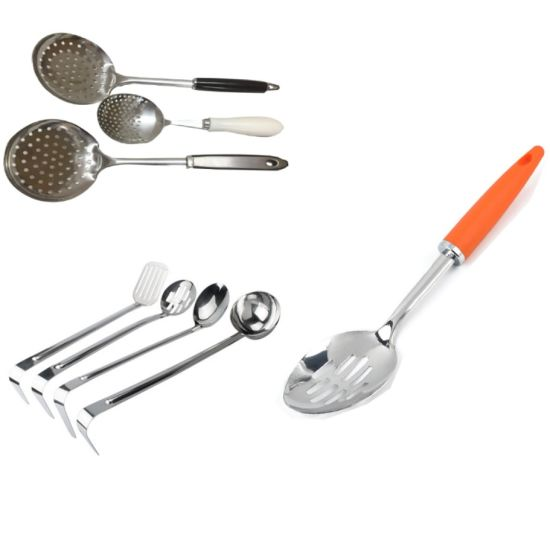 Stainless Steel Kitchen Skimmer Ladle Tools with Tube Plastic Handle pictures & photos