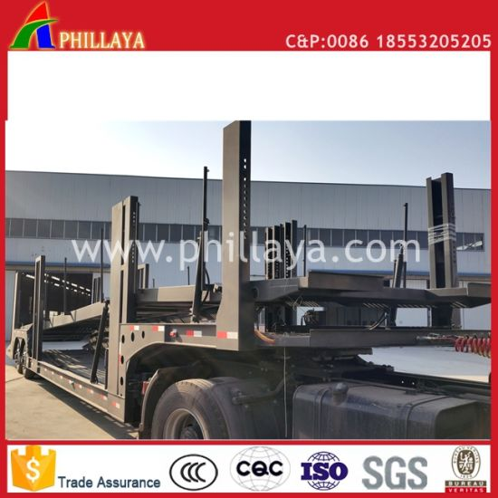 Auto Vehicle Hydraulic 6 SUV Hauler Semi Chassis 8 Car Carrier Trailer pictures & photos