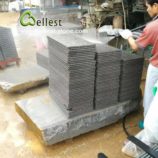 Black Basalt with Chisel Brushed Finish Tile for Paving pictures & photos