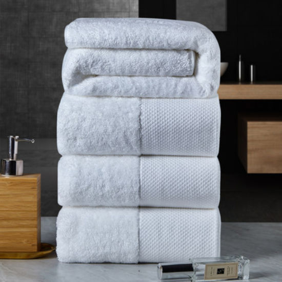 Luxury 5-Star 100% Cotton Jacquard Exquisite Embroidery White Hotel Towel Set