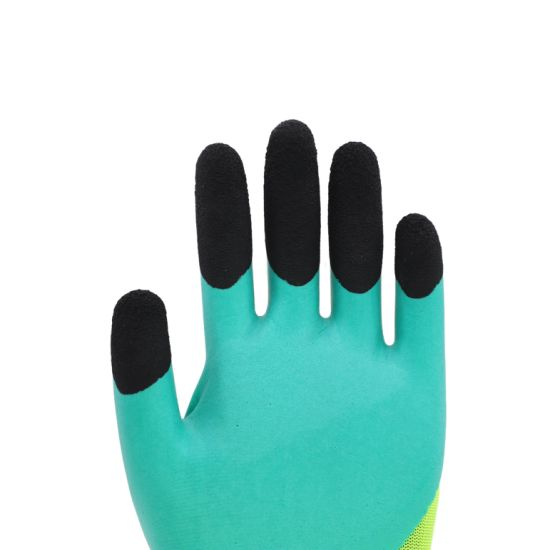 Most Competitive Crinkle Latex Coated Safety Nitrile Gloves with CE Certificated