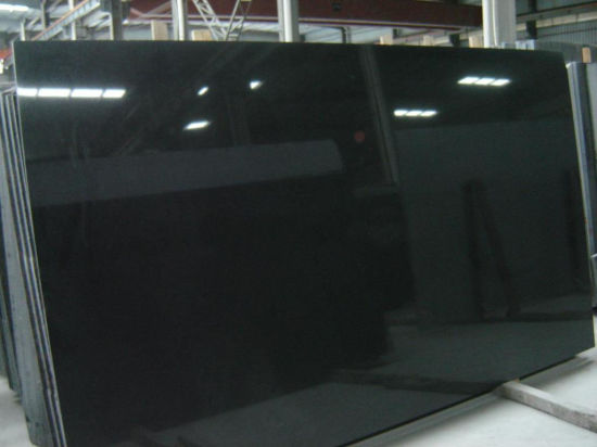 Polished Absolute Black Granite Slab for Countertop/Tombstone/Step Stair