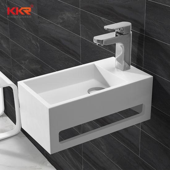 Modern Bathware Furniture White Solid Surface Bathroom Wall Hung Basin