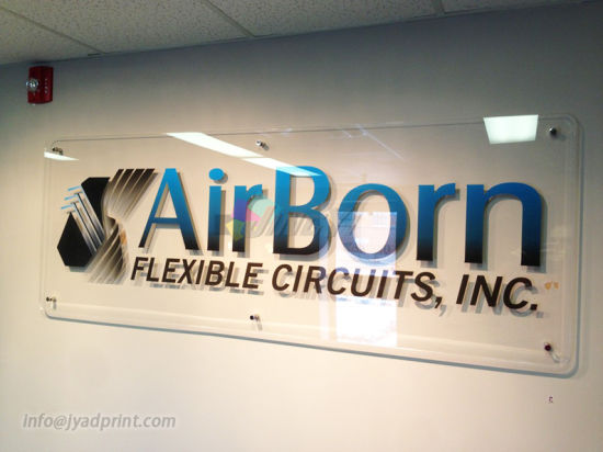Full Color Printed Company Logo Reception Clear/Transparent Acrylic Sign pictures & photos