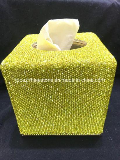 China Bathroom Accessories Crystal Diamond Tissue Box Container
