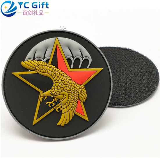 Custom Eco-Friendly Denim Pants Jean Jacket Silicone Rubber Label Wholesale Star Eagle Logo Military Police Uniform Tactical Gear PVC Patches for Decoration