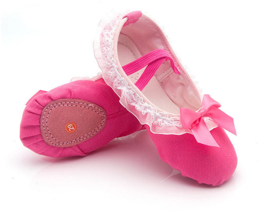 Solid Color Girls Soft Ballet Dance Elastic Lace up Canvas Crib Shoes