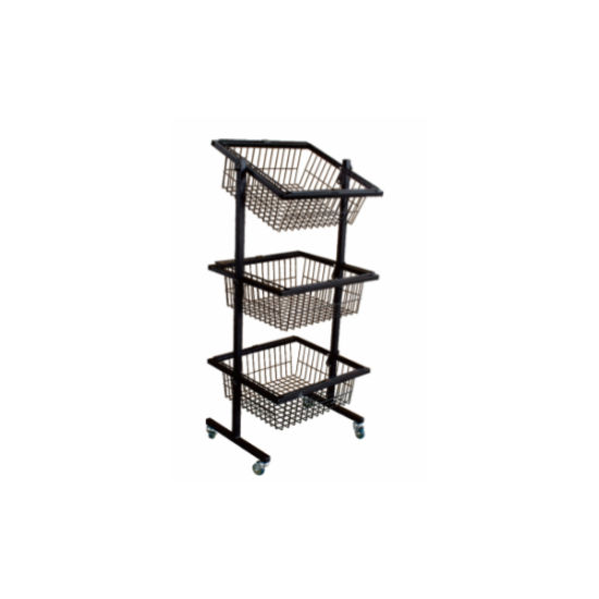 Moveable Metal Wire Basket Wheeled Display Rack with Three Basket