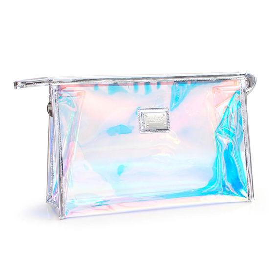 Women Makeup Pouches Bag, Fashion Travel Toiletry Bags, Transparent Holographic PVC Cosmetic Bag