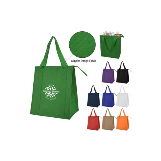Non-Woven Foil Laminated PE Foam Insulation Inside Carrying Handles Large Gusset with Bottom Insert Zippered Dimples Cooler Tote Bag