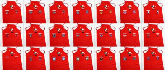 Wholesales Customized National Basketball Christmas Apron Red Festival