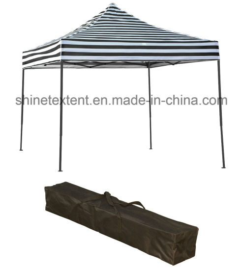 Black White Striped Folding Stall E Z Up Instant Exhibition Tent