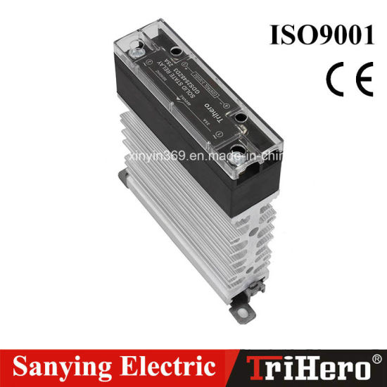 25A DIN Rail Mounted Slim Solid State Relay SSR with Heatsink, Ce, RoHS