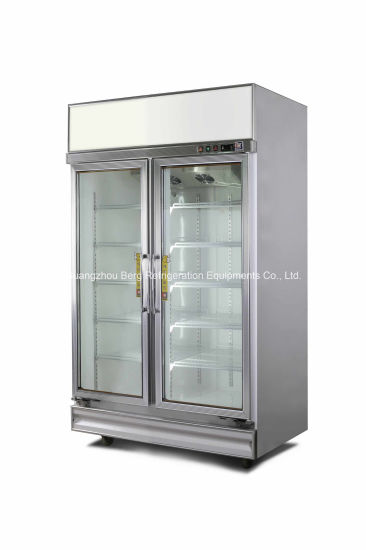 China Double Glass Door Commercial Upright Freezer For Supermarket