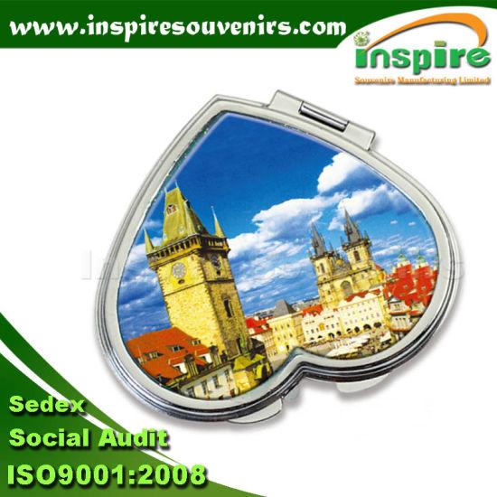 Heart-Shaped Metal Souvenir Epoxy Sticker Pocket Mirror