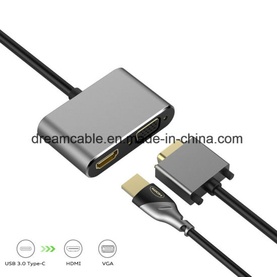 Silver 2 in 1 USB C HDMI VGA Multiport Adapter pictures & photos