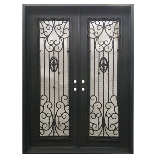 China Luxury America Standard Iron Grill Entry Door With
