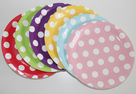 9\ Polka DOT Fancy Customized Printed Disposable Bulk Paper Plates  sc 1 st  Suzhou King Fly Paper Products \u0026 Technology Co. Ltd. & China 9\