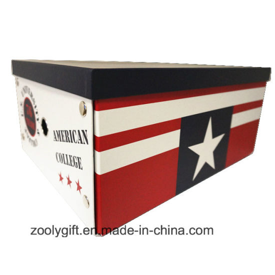 Multipurpose American Collection Printing Paper Cardboard Foldable Storage Box with Metal Button and Finger Hole