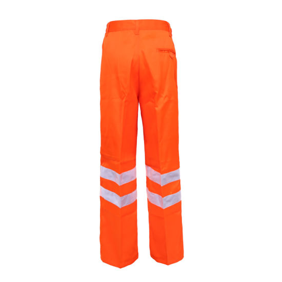 Traffic Safety Work Pants Hi Vis 3 Band Polycotton Mens Trousers High Viz Rail