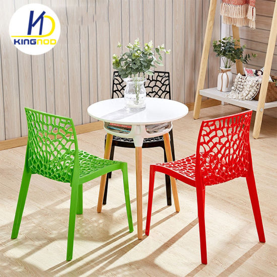 Cheap Spider Web Base Outdoor Armless White PP Plastic Stacking Dining Chair