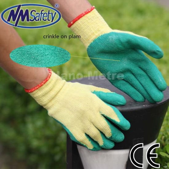 Nmsafety Cheap Green Latex Coated Safety Gloves