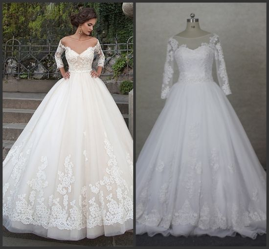 Stock White Bridal Gowns 3 4 Sleeves A Line Organza Lace