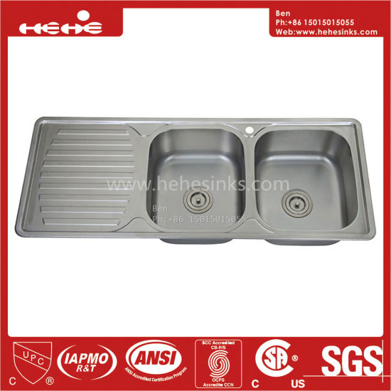 Stainless Steel Drain Board Sink, Drop In Sink, Stainless Steel Top Mount  Equal Double Bowl Kitchen Sink With Drain Board