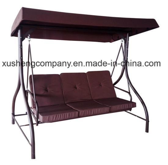 Outdoor Modern 3 Seater Garden Swing Chair With 2 Pillows